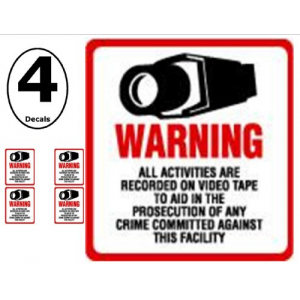 SECURITY DECAL – 4 Pack #204 Commercial Security, Surveillance Video CCTV Warning! Deterrence Decals – #204